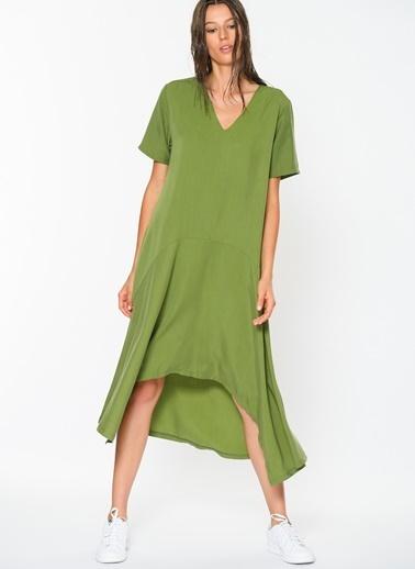 Loves You Loose Fit Asimetrik Tensel Keten Elbise Yeşil